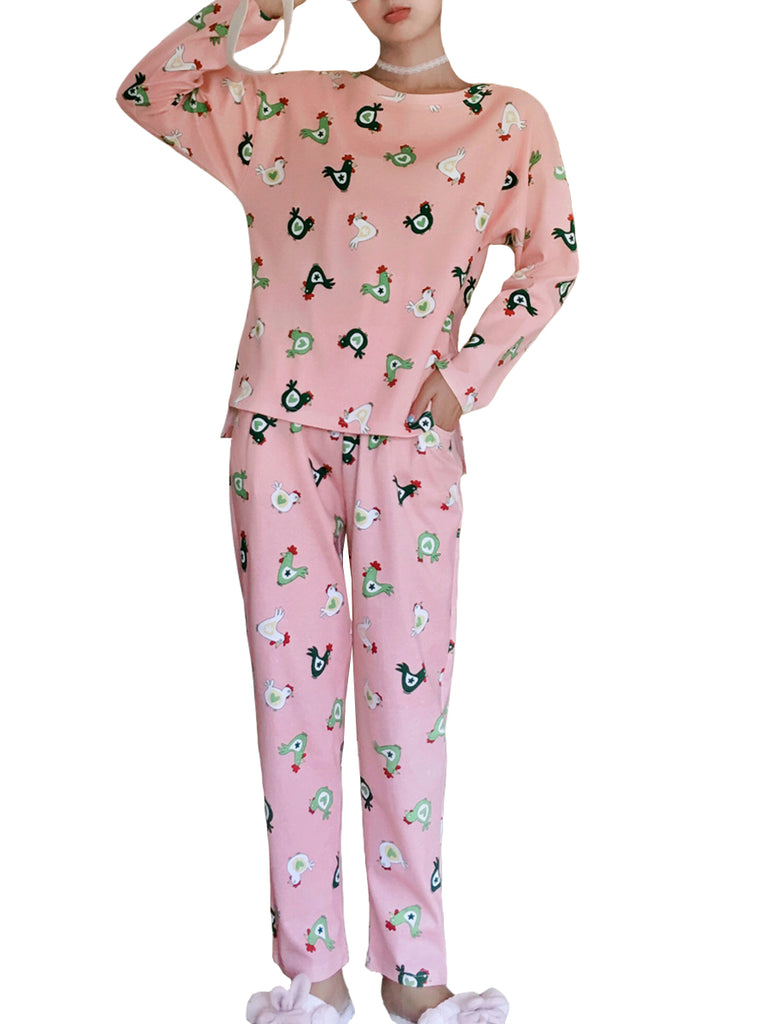 Women's Pajama Set Cute Chicken Pattern O Neck Long Sleeve Sweet Home Suit