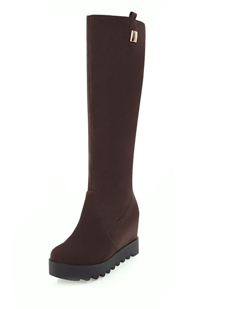 Women's Knee Length Boots Fashionable Solid Color All Matched Brief Shoes
