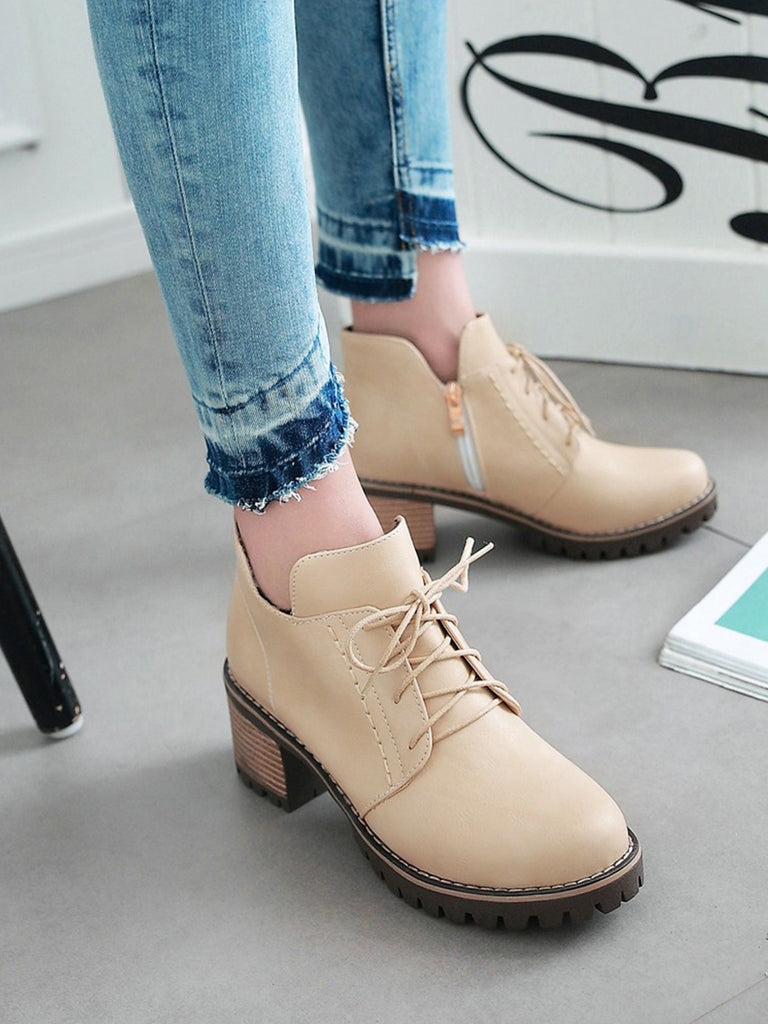 Women's Ankle Boots British Style Casual Strappy Vogue All Match Thick Heel Shoes
