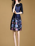 Women's Dress Patchwork Floral Printing Three Quarters Sheath Aline Dress