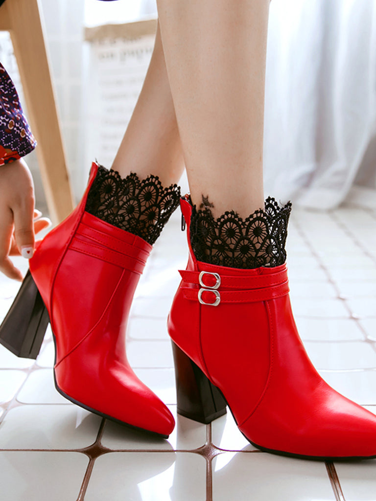 Women's Bottines Ladylike Lace Patchwork Pointed Toe Elegant Thick Heel Shoes