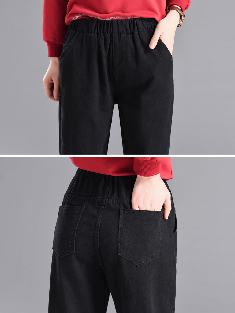 Women's Jeans Solid Color Pocket Loose Elastic Denim Pants