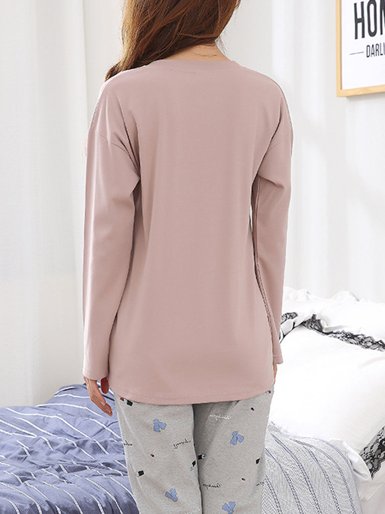 Women's Sleepwear Set Simple Leisure Cartoon Pattern Cute Pocket Long Sleeve Home Suit