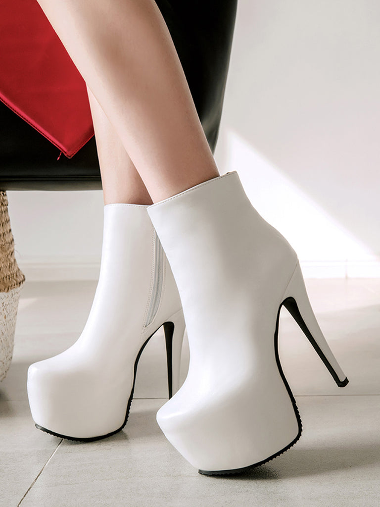 Women's Ankle Boots High Thin Heel Round Toe Solid Colour All Match Shoes