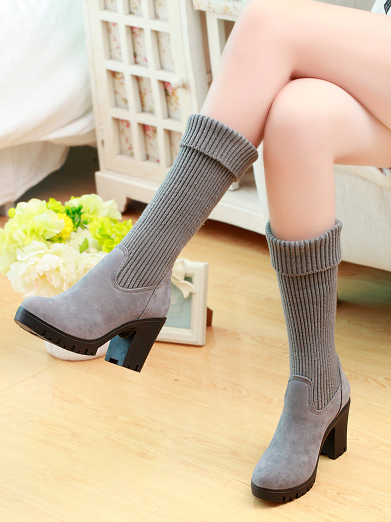 Women's Bottine Solid Color Woolen All Match Fashion Thick Heel Round Toe Shoes