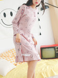Women's Sleep Dress Sweet Cartoon Graphic Ruffles O Neck Long Sleeve Night Dress