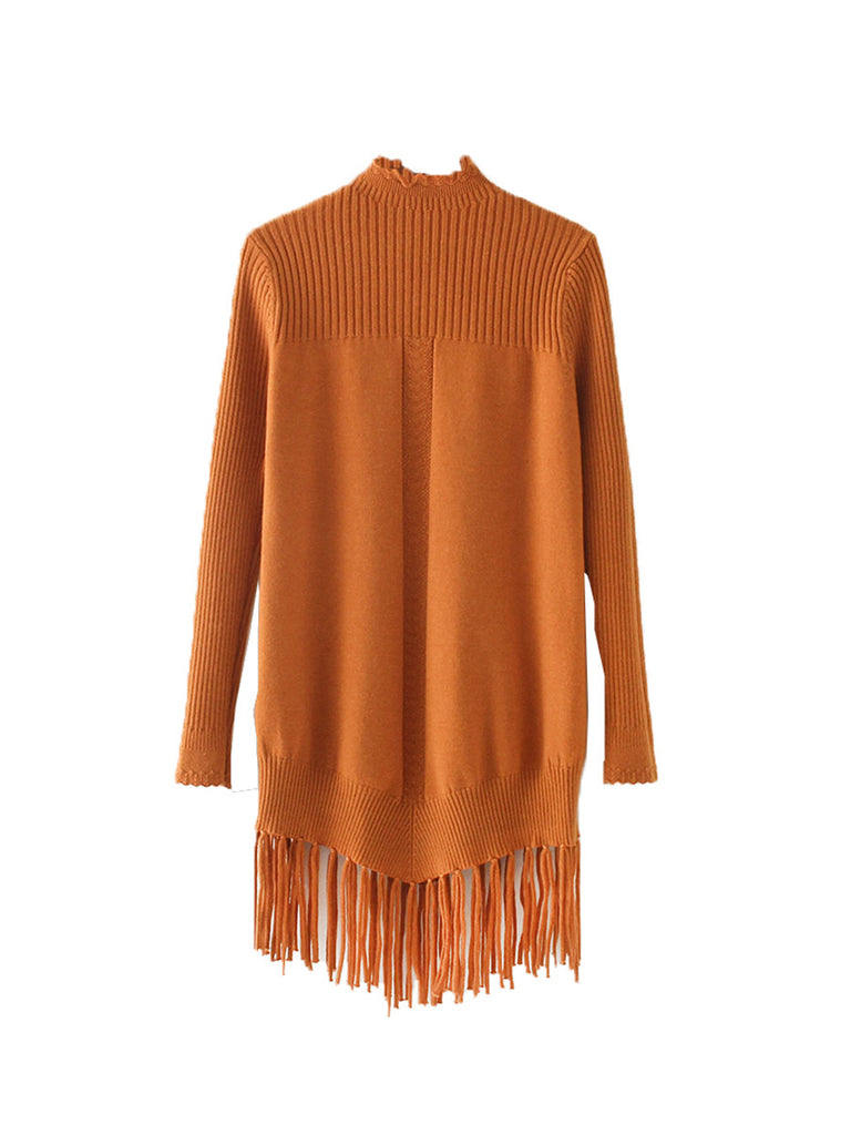 Women's Sweater Tassel Elegance Solid Comfy Warm All Match Top