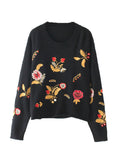 Women's Sweater Long Sleeve O Neck Embroidery Comfy Simple Top