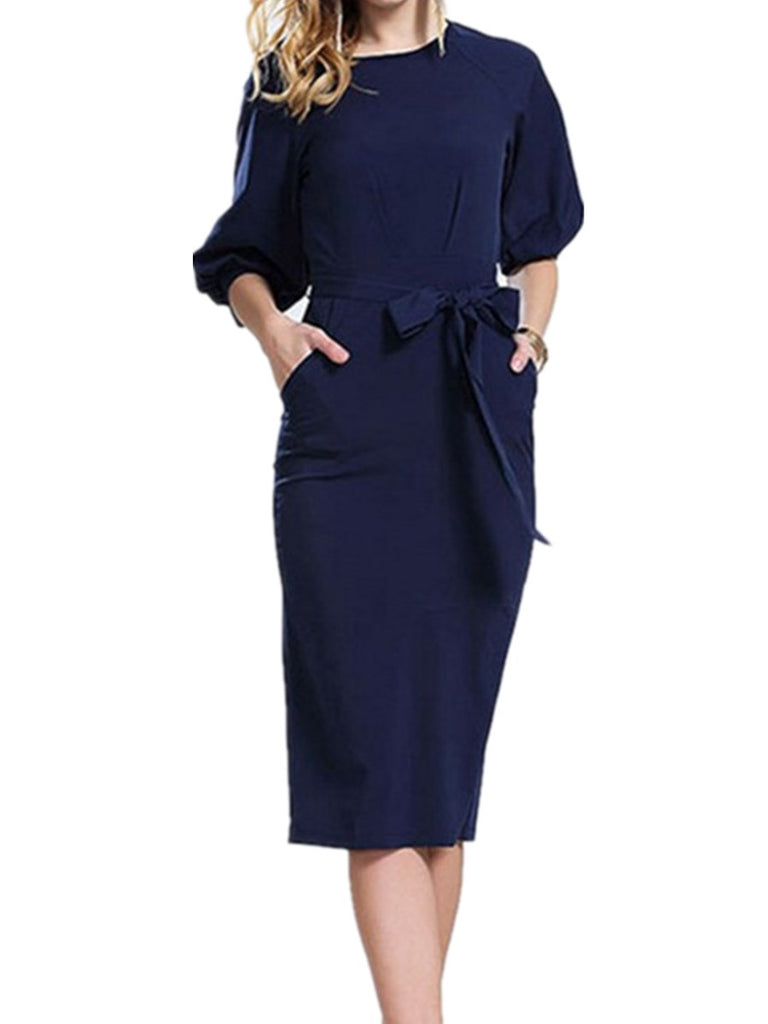 Women's Dress Solid Color Three Quarters Sleeve Dress