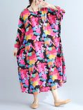 Women's Shift Dress Floral Pattern Long Sleeve Loose Dress