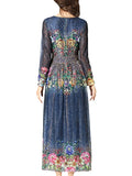 Women's Maxi Long Dress Long Sleeve Floral Pattern Aline Dress