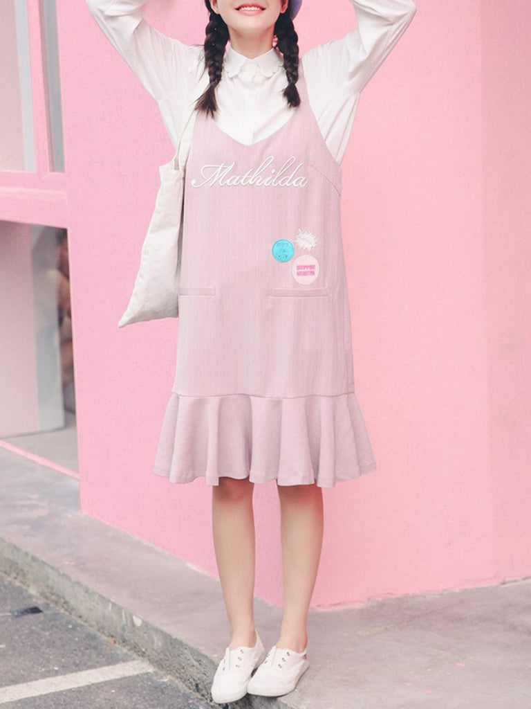 Women's Sweet Slip Dress Letter Pattern Ruffled Dress