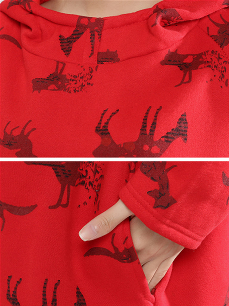 Women's Hoodie Long Sleeve Print Animal Pocket Thick Loose Split Hoodie