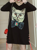 Women's Tshirt Dress O Neck Long Sleeve Print Cat Loose Plus Size Dress