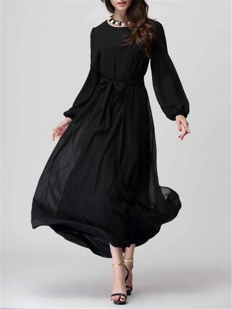 Women's Kaftan Solid Color O Neck Long Sleeve Bow Maxi Long Kaftan Dress