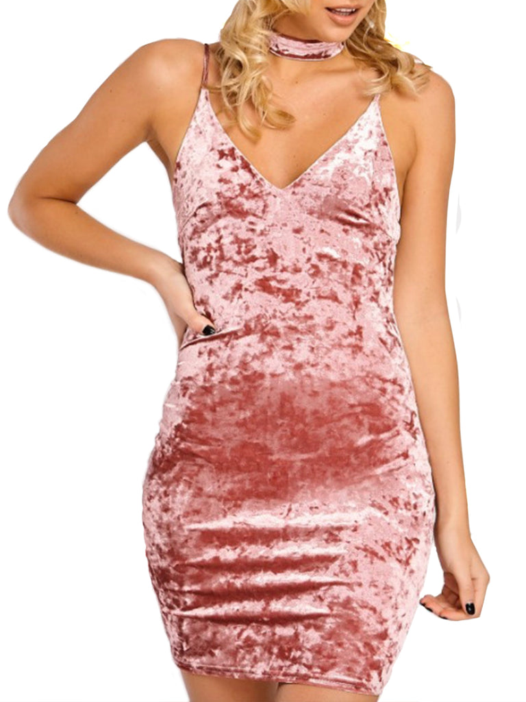 Women's Slip Dress V Neck Velvet Sexy Dress