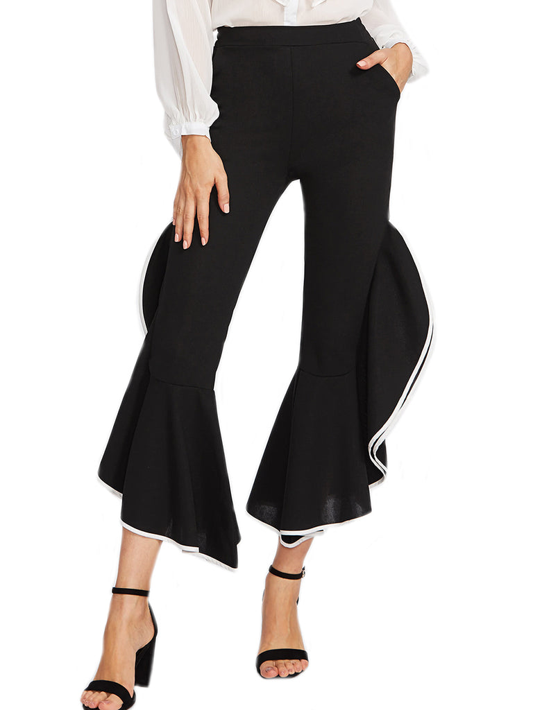 Women's Casual Pants Bell Bottom Cascading Ruffle Solid Pants