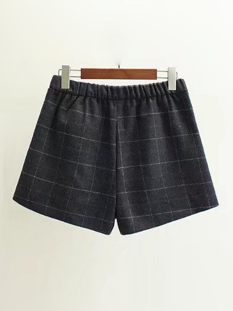 Women's Shorts Plus Size Plaid High Waist Shorts