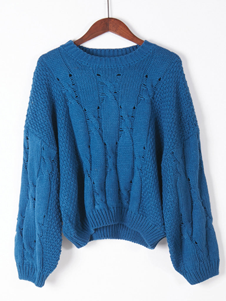 Women's Pullover O Neck Long Sleeve Hollow Out Solid Color Loose Sweater