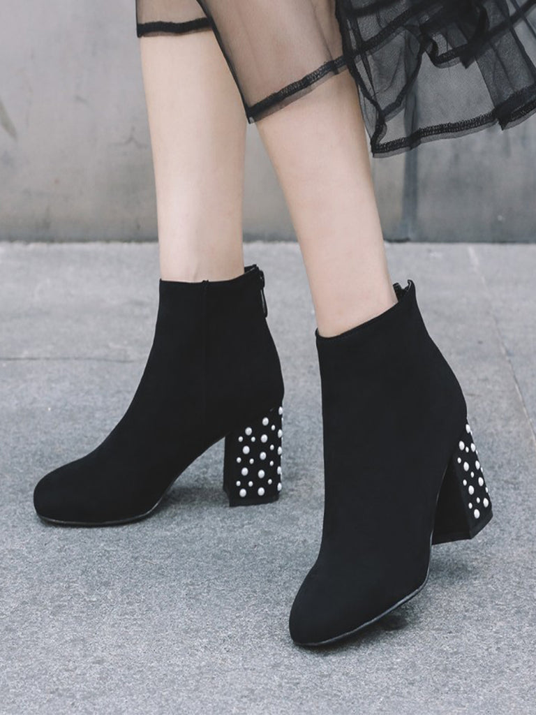 Women's Boots Solid Color Rhinestone Decoration Stylish Ankle Thick Heel Square Toe Shoes