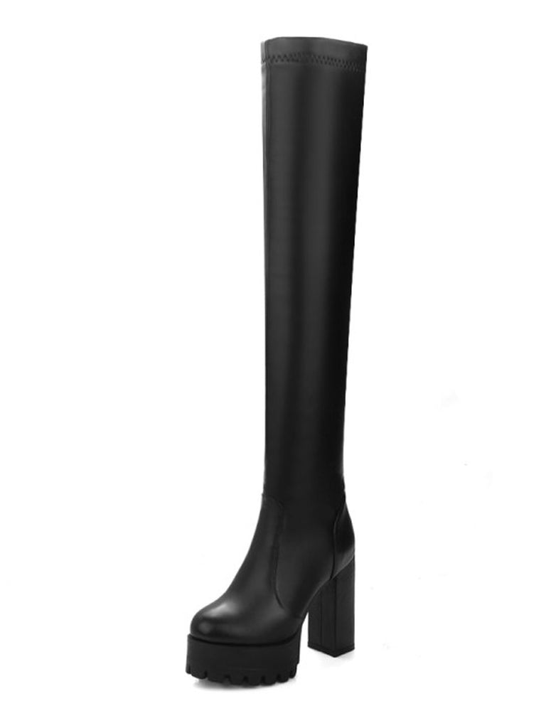 Women's Above Knee Boots Solid Color Round Toe Platform Thick Heel All Match Boots