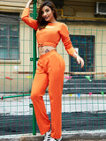 Women's 2Pcs Letter Pattern Cropped Sweatshirt Slim Pants Sports Suit