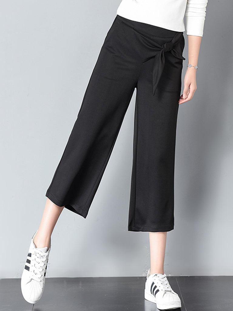 Women's Wide Leg Pants Solid Color Bow Patched Cropped Pants