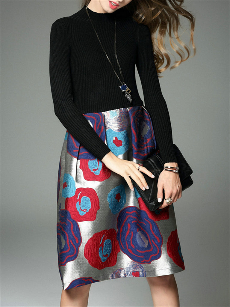 Women's Aline Dress One Piece Layer Look Long Sleeve Patchwork Midi Dress