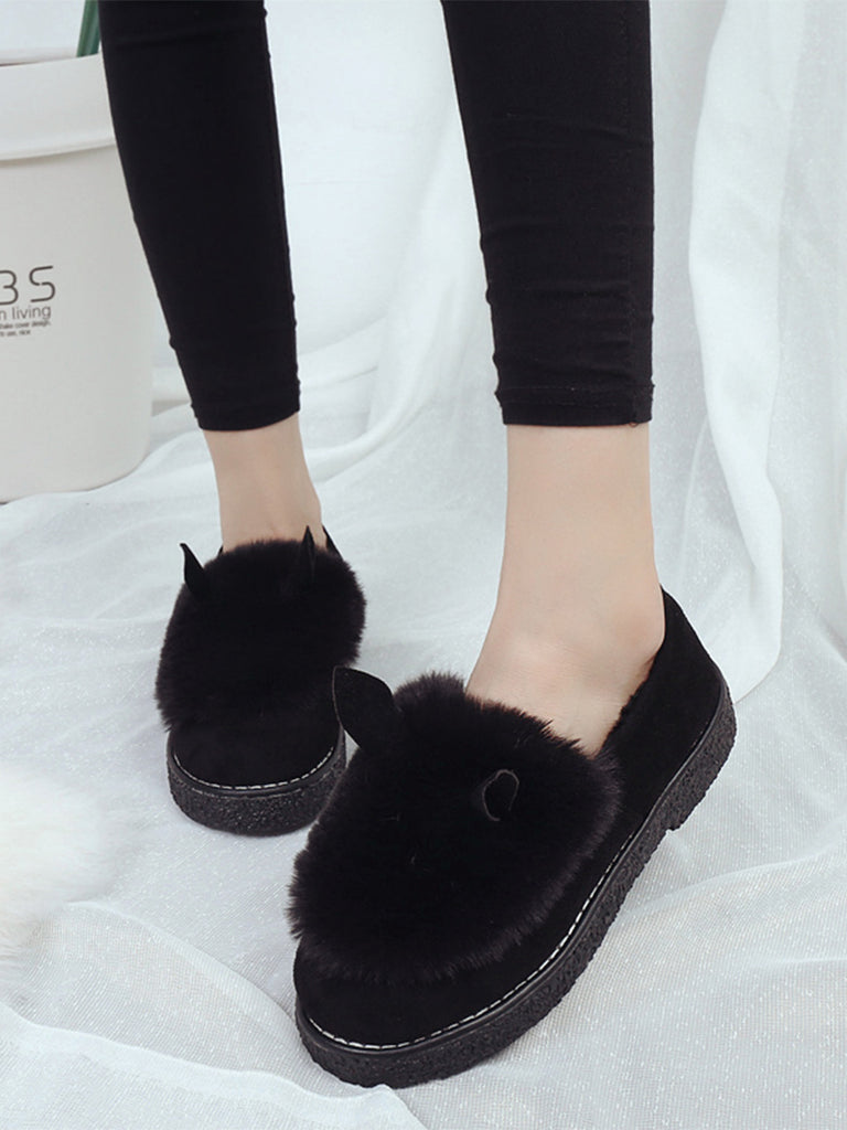 Women's Thick Sole Pumps Fluffy Hair Bow Decor Low-Cut Comfy Flat Shoes