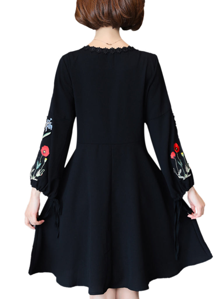Women's Aline Dress Embroidery Long Sleeve V Neck Plus Size Midi Dress