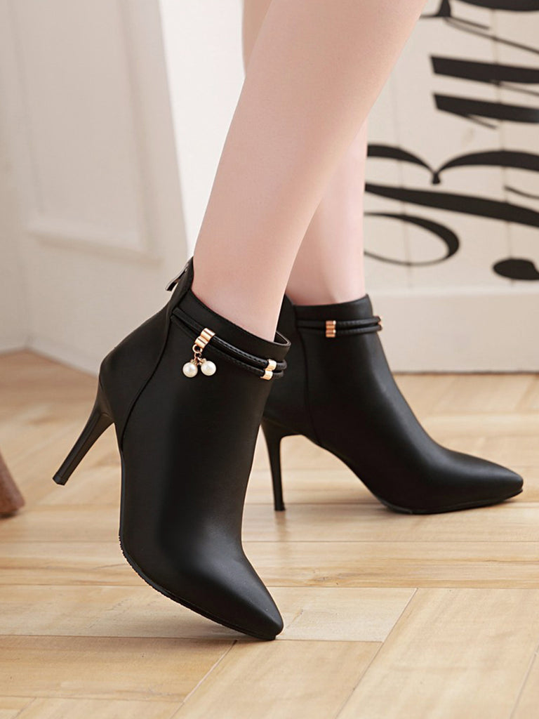 Women's Bottines Fashion Pointed Toe Solid Color Zipper Thin Heel Shoes