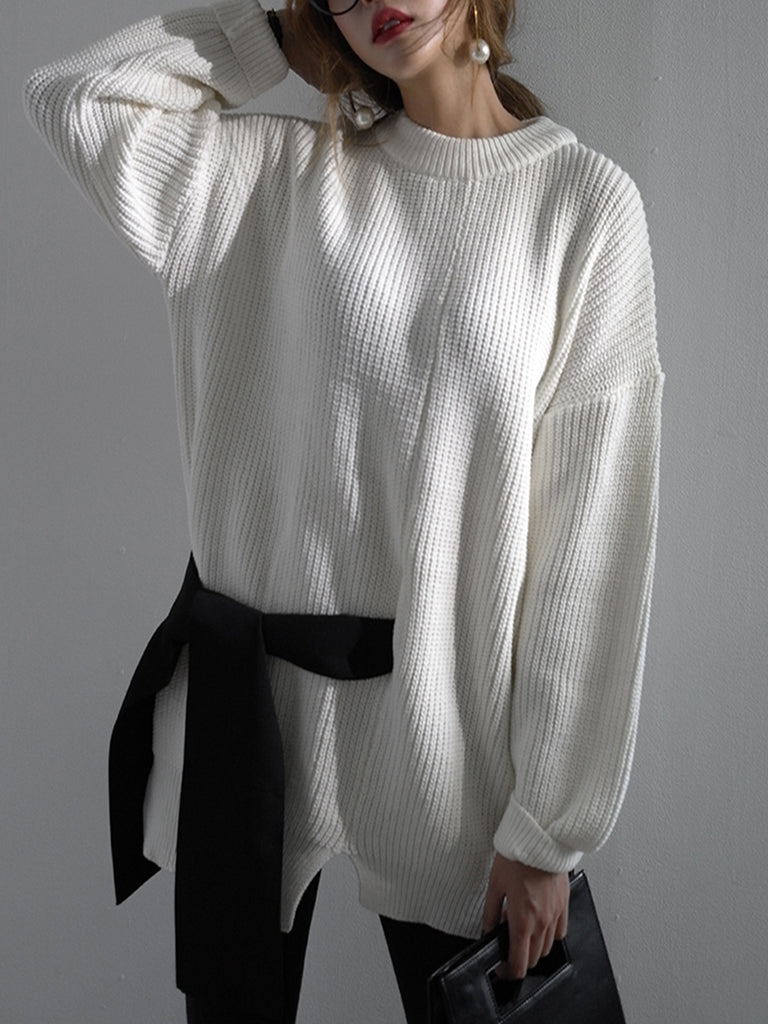 Women's Pullover O Neck Split Long Sleeve Sashes Loose Pullover
