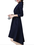 Women's Aline Dress Solid Color Bandage High Low V Neck Midi Dress