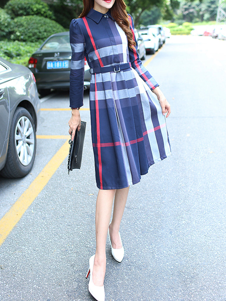 Women's Dresses Plaid Pattern Long Sleeves Belt Decor Turn Down Collar Dress