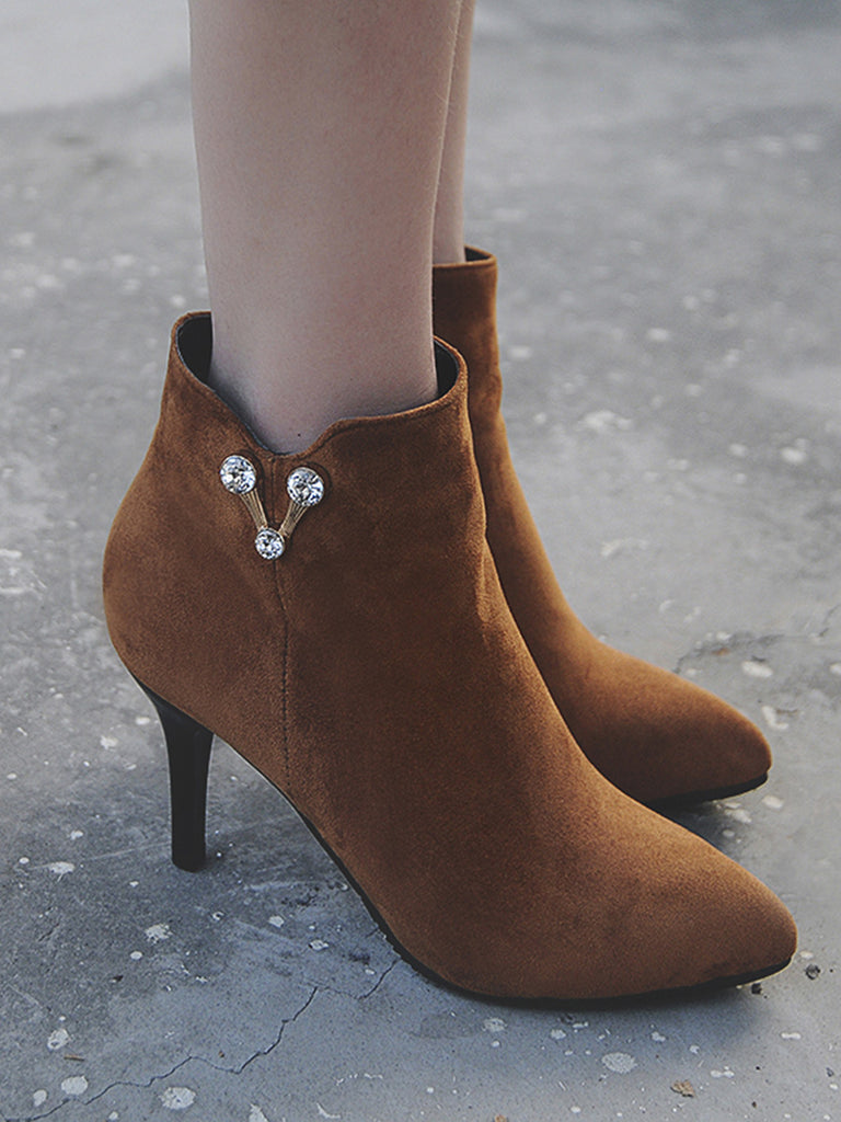 Women's Ankle Boots Pointed Toe Rhinestone All Match Classic Solid Color Shoes