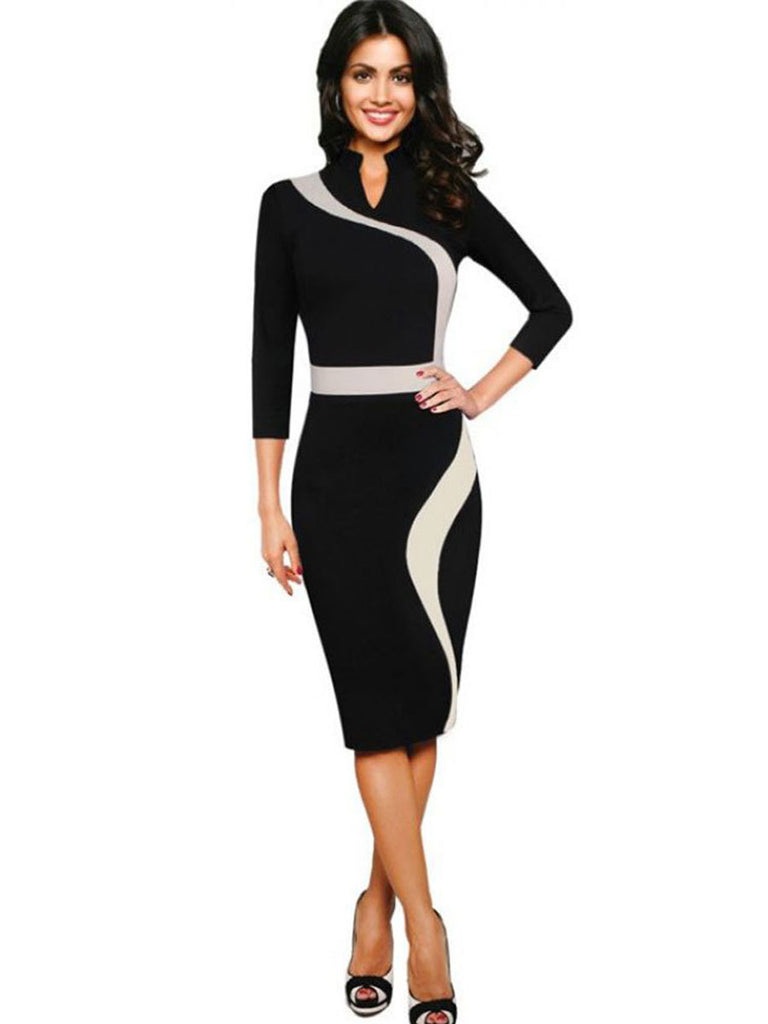 Women's OL Dress Stand Collar Three Quarters Sleeve Colorblock Sheath Dress