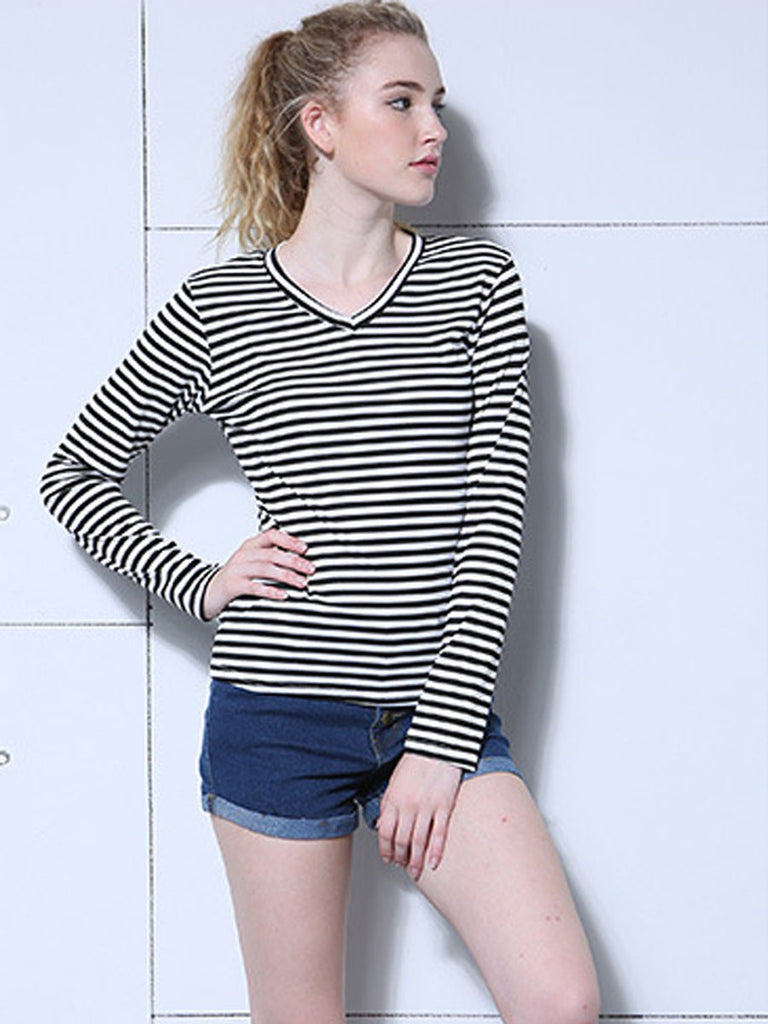 Women's Sweatshirt V Neck Long Sleeve Breathable All Match Striped Top
