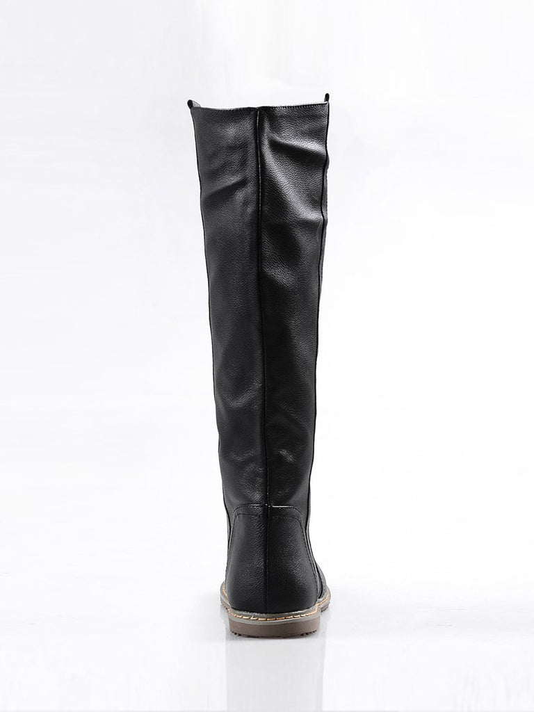 Women's Above Knee Boots Solid Color Plus Size Classic Comfy Flat Shoes
