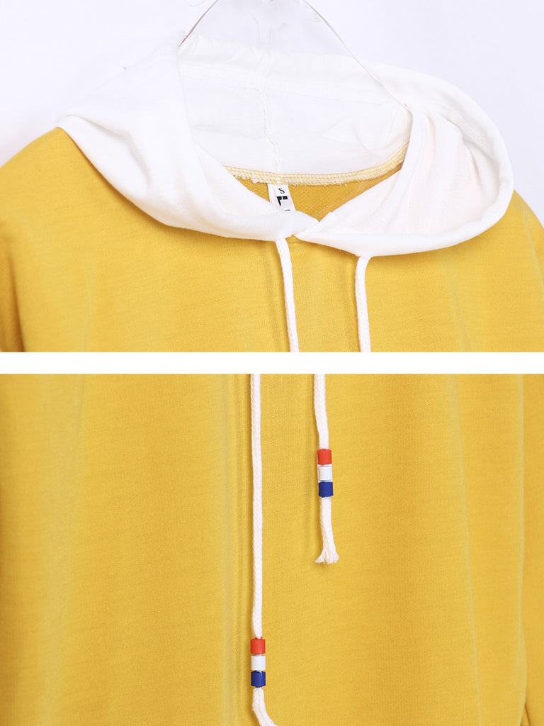 Women's Hoodie Patchwork Hood Colorblock Back Letter Pattern Casual Top