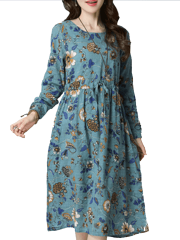 Women's Aline Dress Floral Long Sleeve O Neck Linen Midi Dress