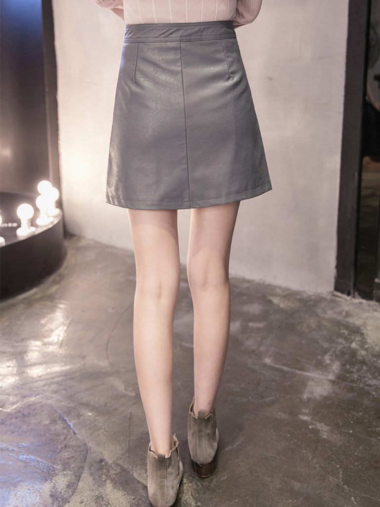 Women's A Line Dress Pocket PU Leather Skirt