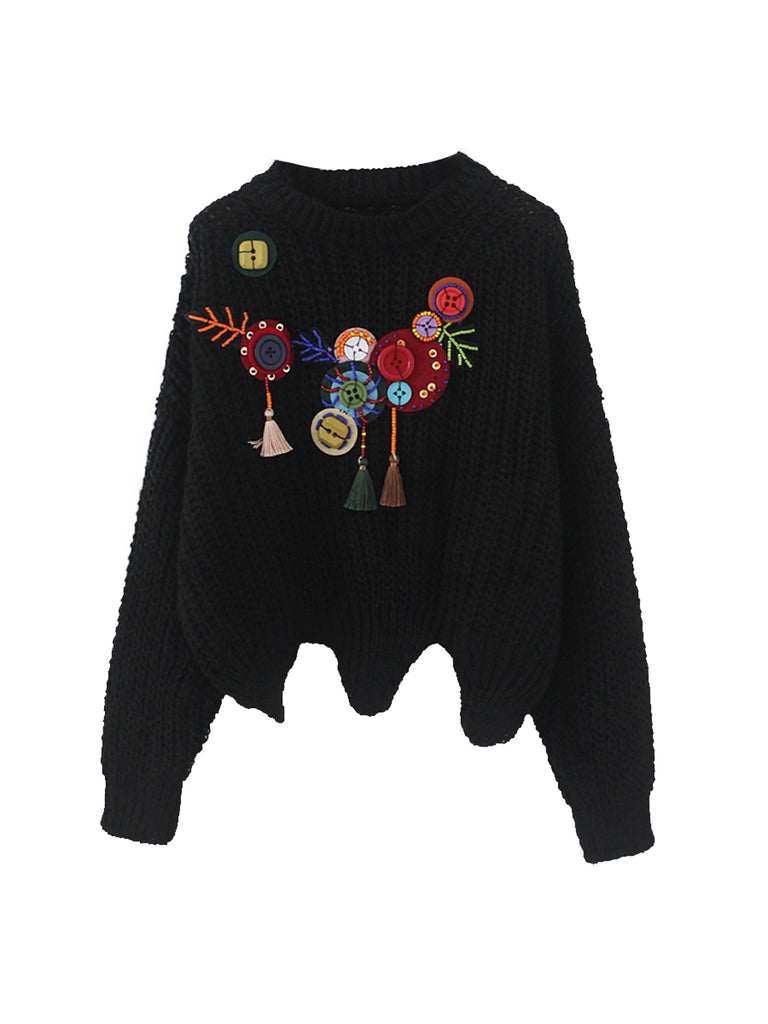 Women's Sweater Appliques Warm Cropped Pullover