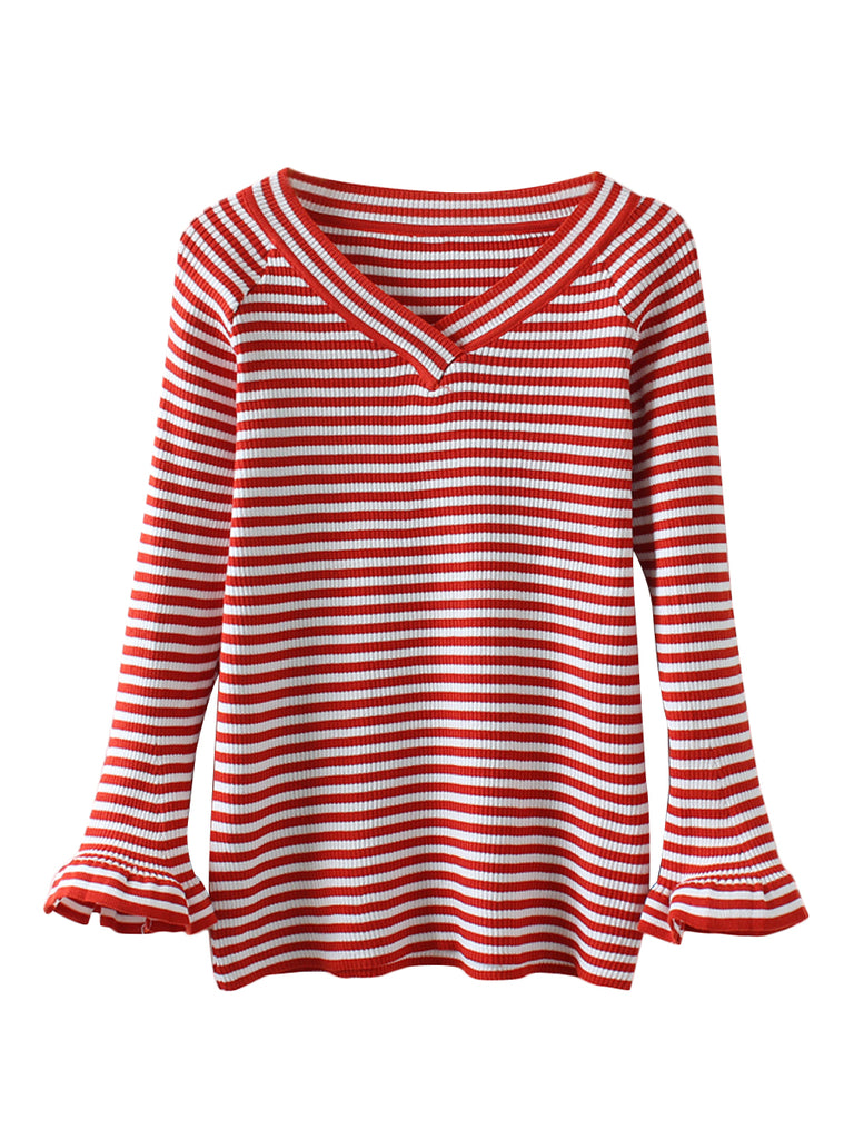 Women's Sweater Striped Long Flare Sleeve V Neck Slim Sweater