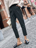 Women's Casual Pants Solid Cropped High Waist Casual Pants