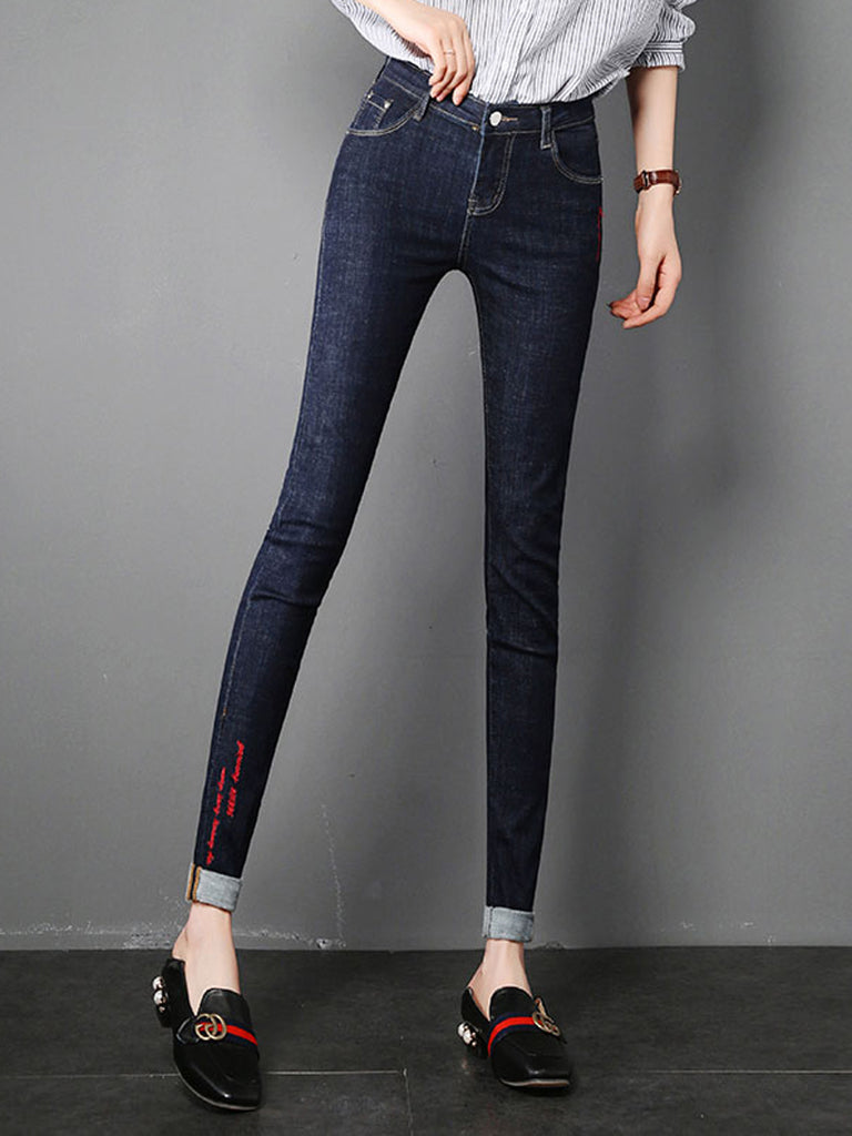 Women's Jeans Solid Color Casual Slim Jeans