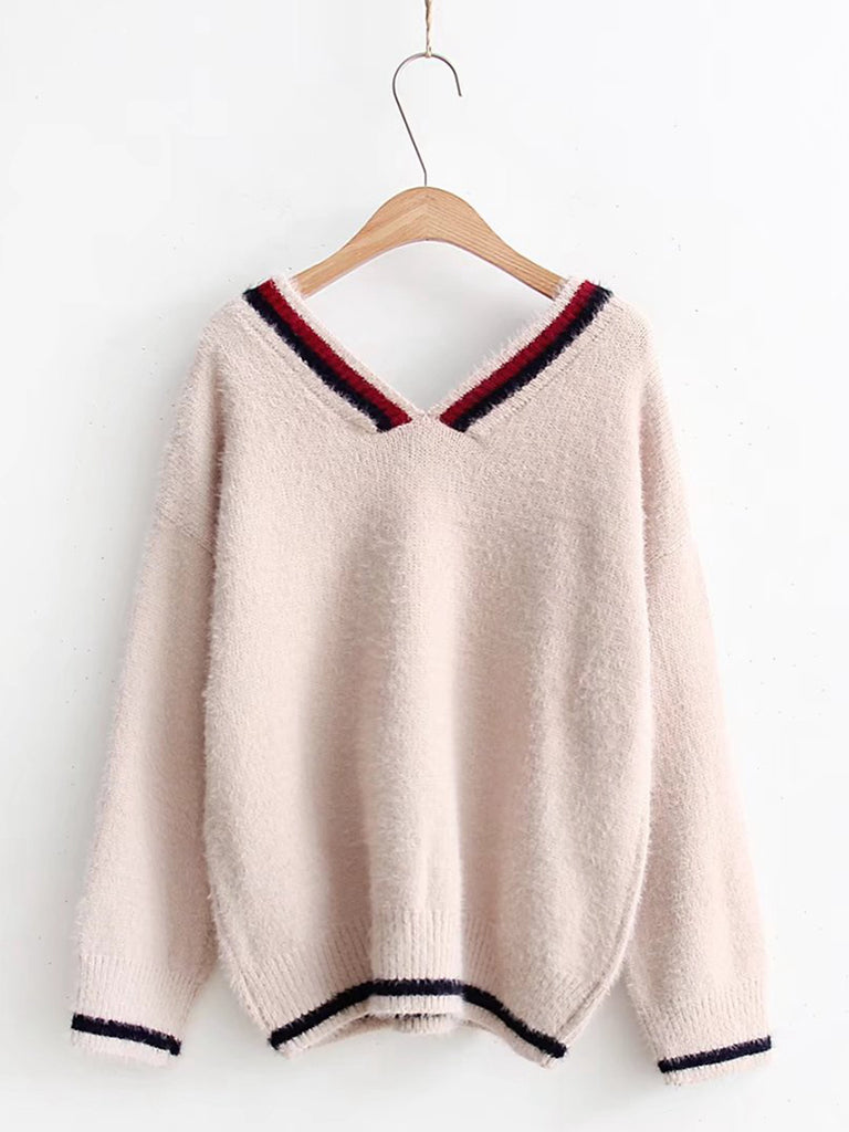 Women's Sweater V Neck Color Block Casual Knitwear