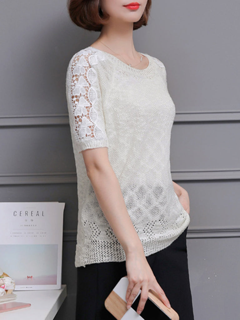 Women's Pullover Lace Hollow Out Patchwork Casual Pullover