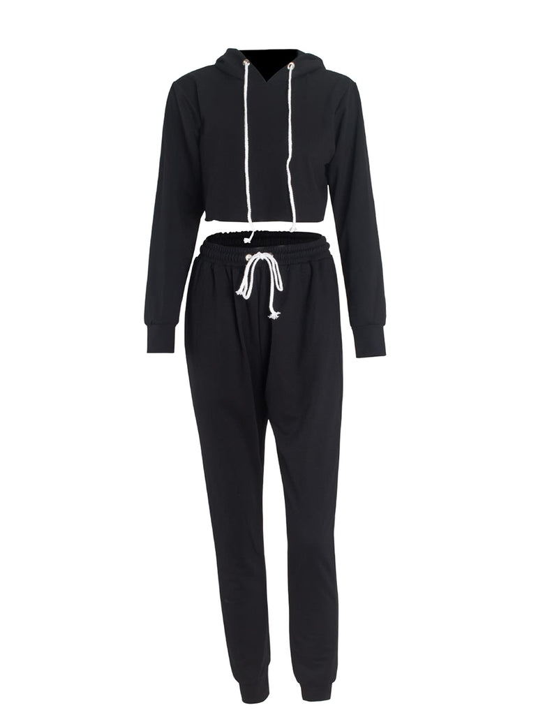 Women's Suits Hooded Long Sleeve Cropped Top Solid Sports Pants Suits