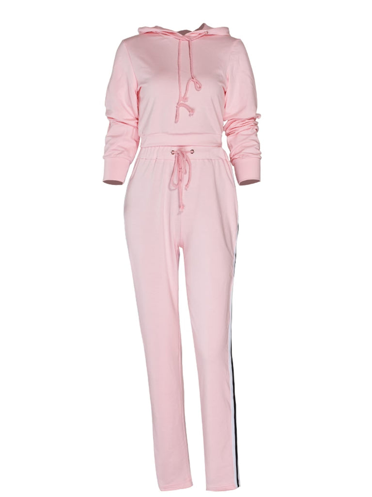Women's Suits Hooded Long Sleeve Colorblock Striped Pants Suits