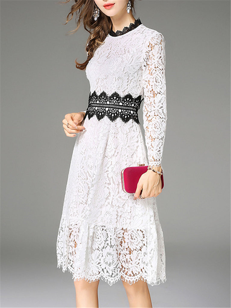 Women's Dress Color Block Long Sleeve Aline Lace Dress
